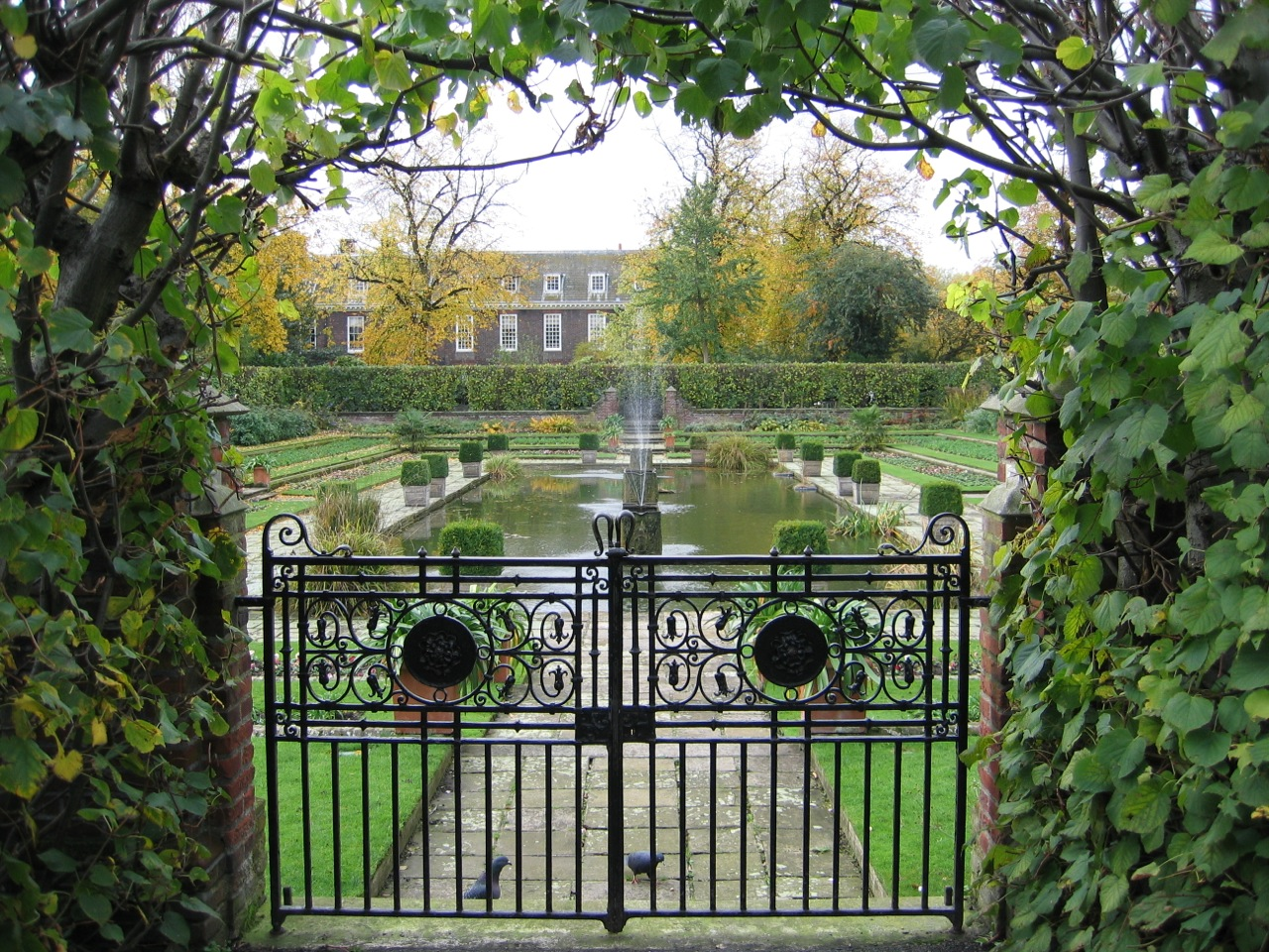 The sunken garden at Kensington Palace, London, UK.