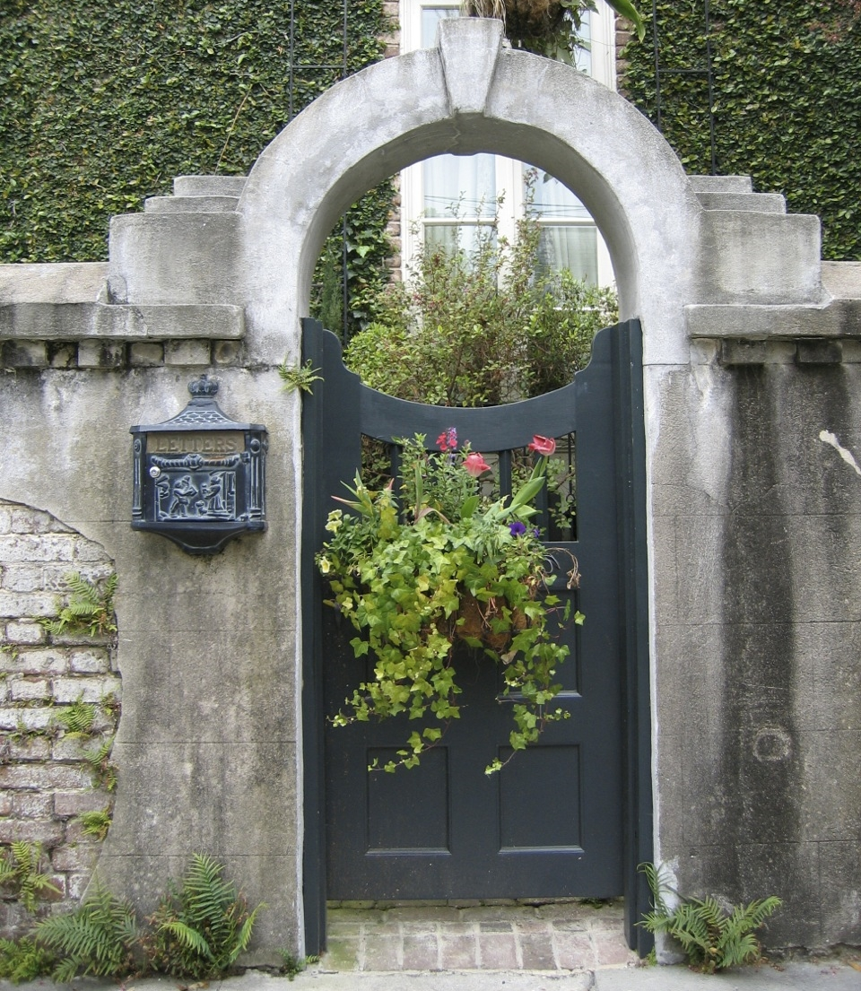 A welcoming entrance gate to a private garden in Charleston, SC.
