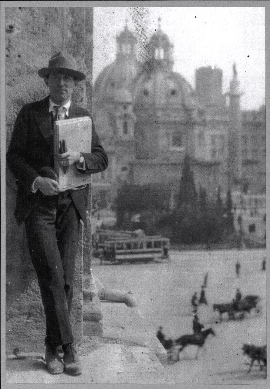 Philip Trammell Shutze with sketchbook overlooking the Piazza Venezia in Rome around 1917.  Source: E.M. Dowling,   American Classicist.   Shutze Collection.