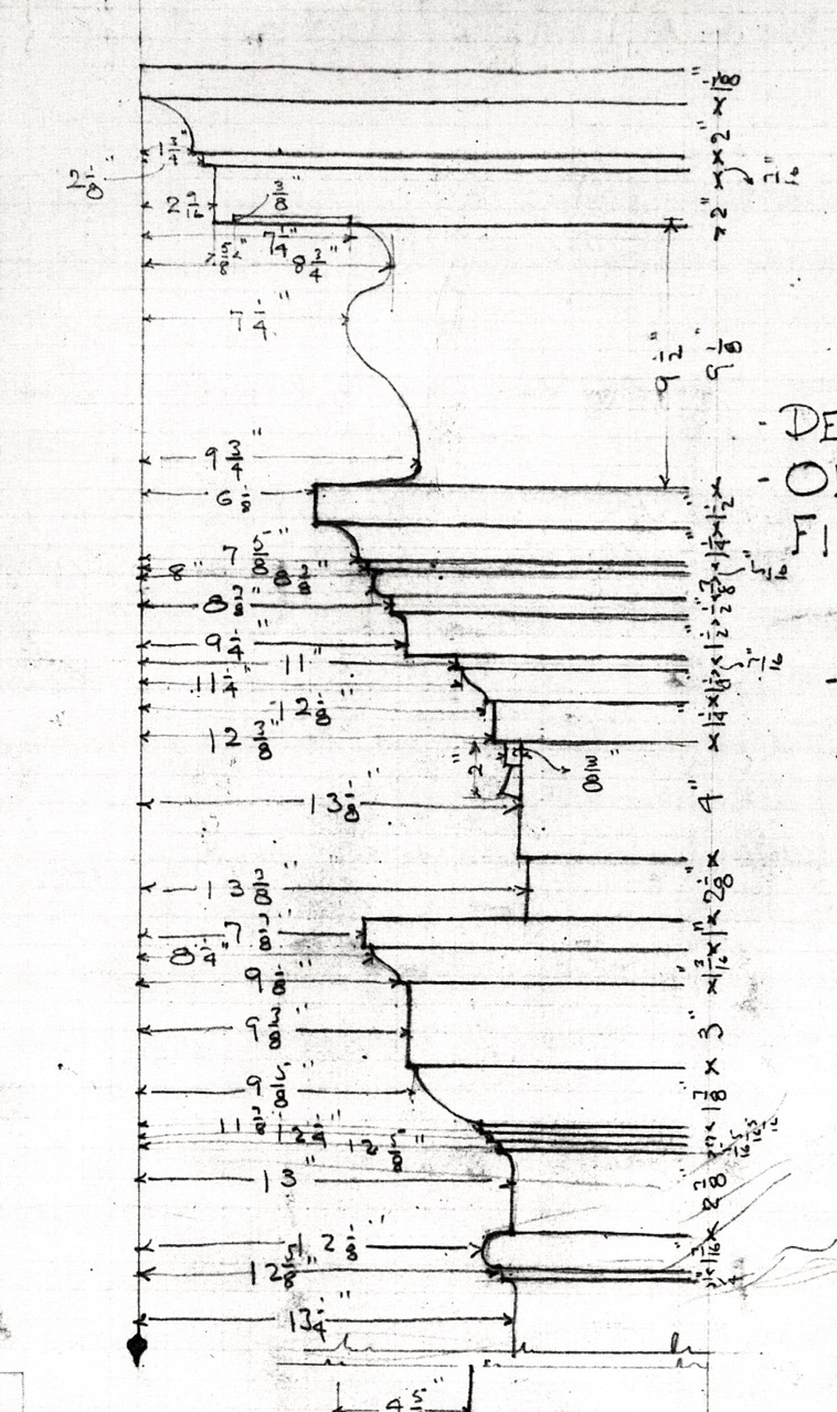 A page from Shutze's sketchbook showing the technique used to record molding details. Source: E.M. Dowling,  American Classicist.  Shutze Collection.