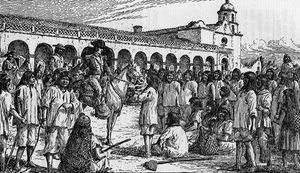 Indians Refusing to Work at San Luis Rey , by A. Harmer, 1833. Source: California Missions Resource Center.