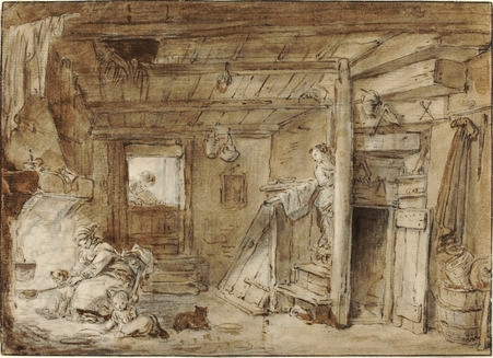 Hubert Robert's ink drawing  Interior of a Farmhouse with Figures . Source: National Gallery of Art, Samuel H. Kress Collection.