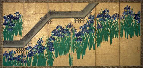 Irises at Yatsuhashiby Ogata Kōrin (Japanese, 1658–1716) Source:  Metropolitan Museum of Art. Purchase, Louisa Eldridge McBurney Gift, 1953