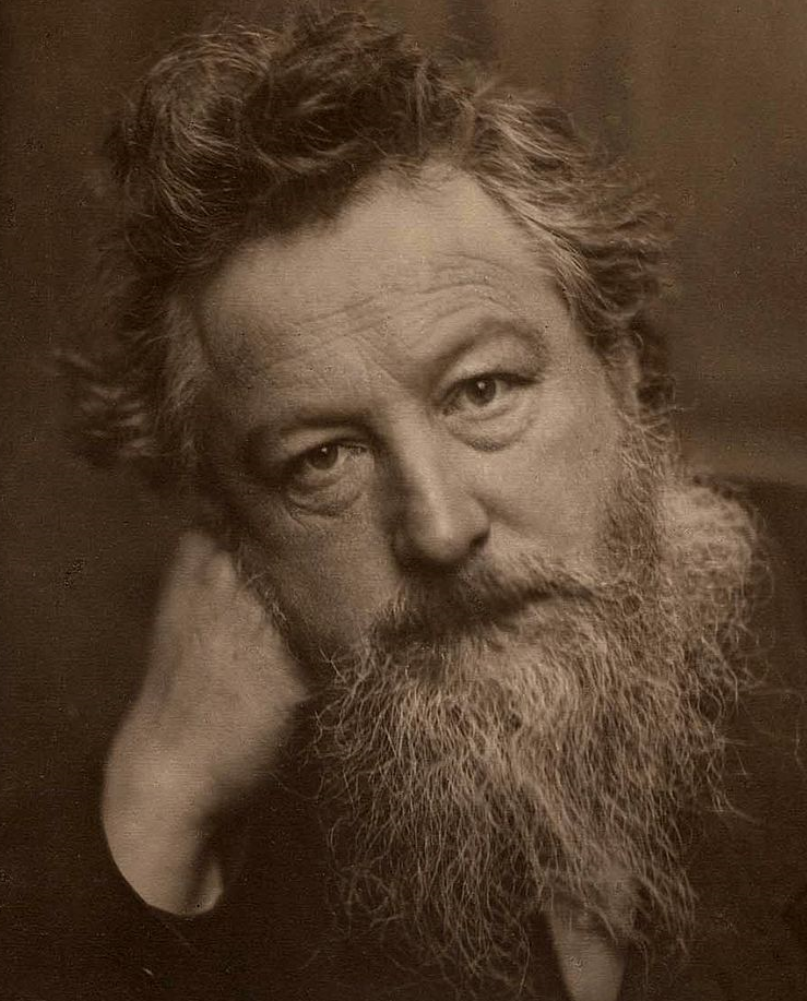 Portrait of William Morris, aged 53 Source:  Frederick Hollyer  -   Google Books edition of J. W. Mackail  The Life of William Morris     in two volumes, 1899