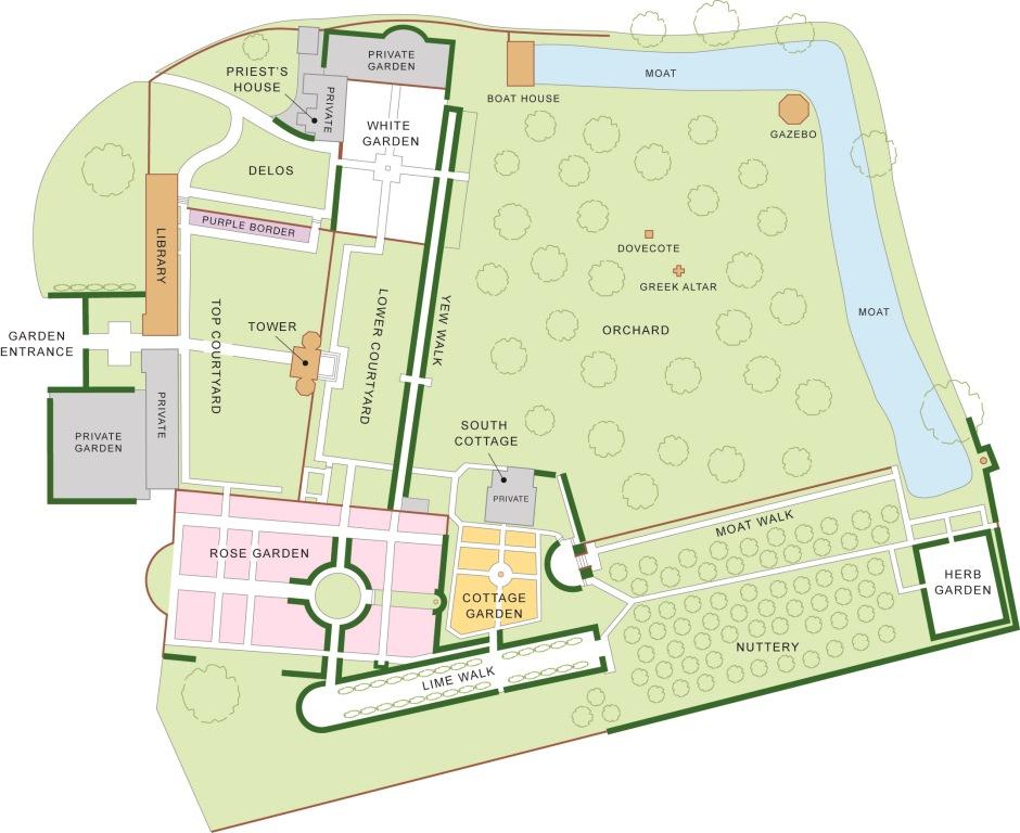 Map of Sissinghurst Castle garden. Source:sissinghurstcastle.wordpress.com