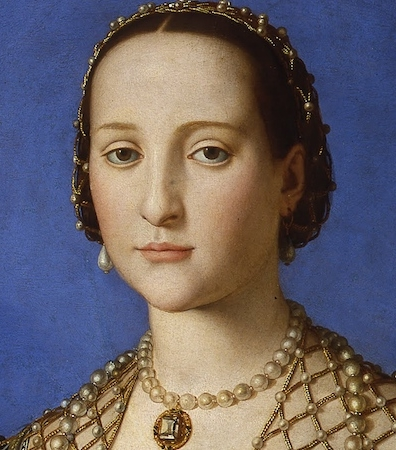 Portrait of Eleonora ofToledo by Bronzino, 1544-45.  Watch a video about this portrait to learn more about Eleonora.