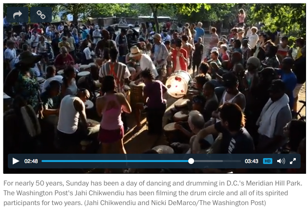 """The rhythm of the city: The Meridian Hill Park drum circle evolves.""   The Washington Post . By Jahi Chikwendiu, August 28, 2014"