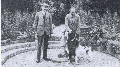 Gardener Frank Adams with Lawrence Johnston, 1927.  Source: National Trust.
