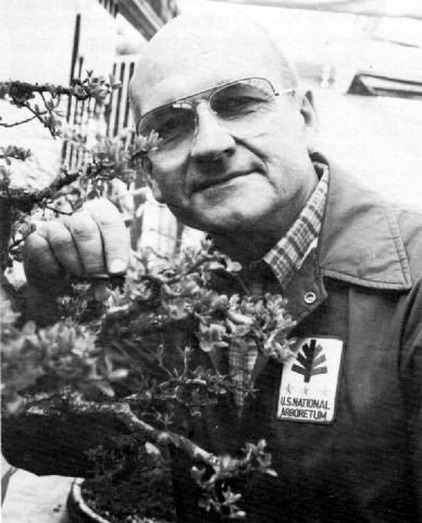 "Robert ""Bonsai Bob"" Drechsler, responsible for keeping the penjing and bonsai thriving. He was the collections first curator and held this position for over 20 years. Source:  Bonsai Journal , ABS, Spring 1986, pg. 6"