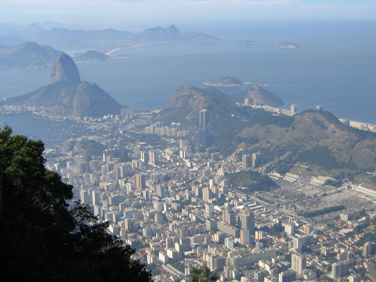 View of Rio de Janeiro from Corcovado.  The Jardim Botanico lies at the base of this mountain.