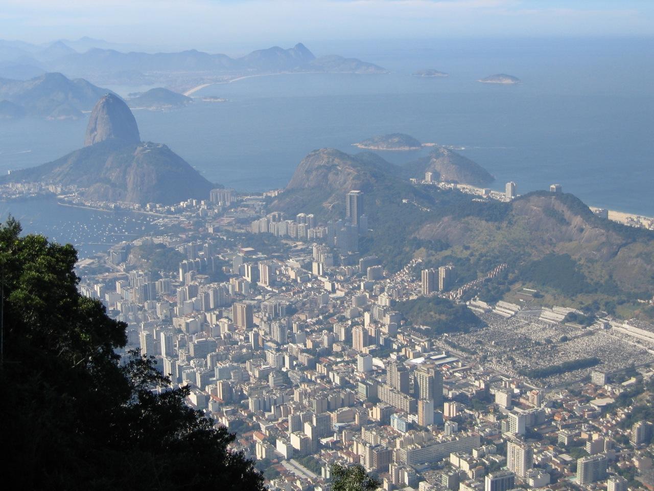 View of Rio de Janeiro from Corcovado. The Jardim Botanico lies at the base of this mountain.
