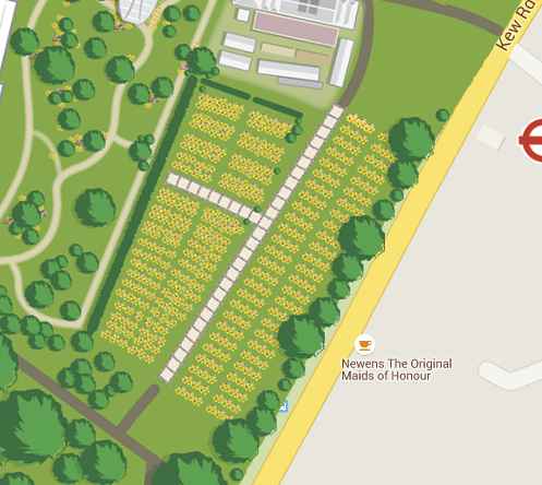 Close-up of garden as seen from above. Source: Kew Garden Map detail.