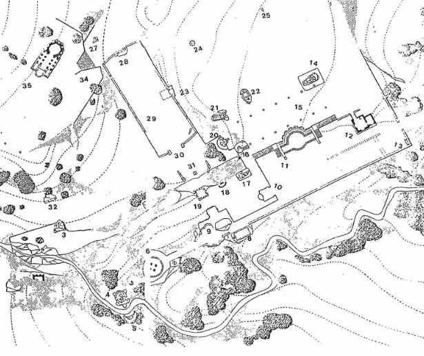 The map of Sacro Bosco shows a lay out typical of an Italian garden.