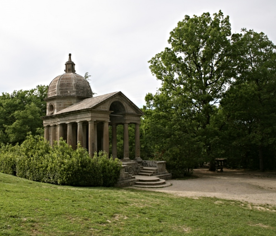 One of the only structures not appearing to be falling into ruin is the chapel dedicated to Orsini's wife Guilia. It sits in a clearing at the top of the garden.