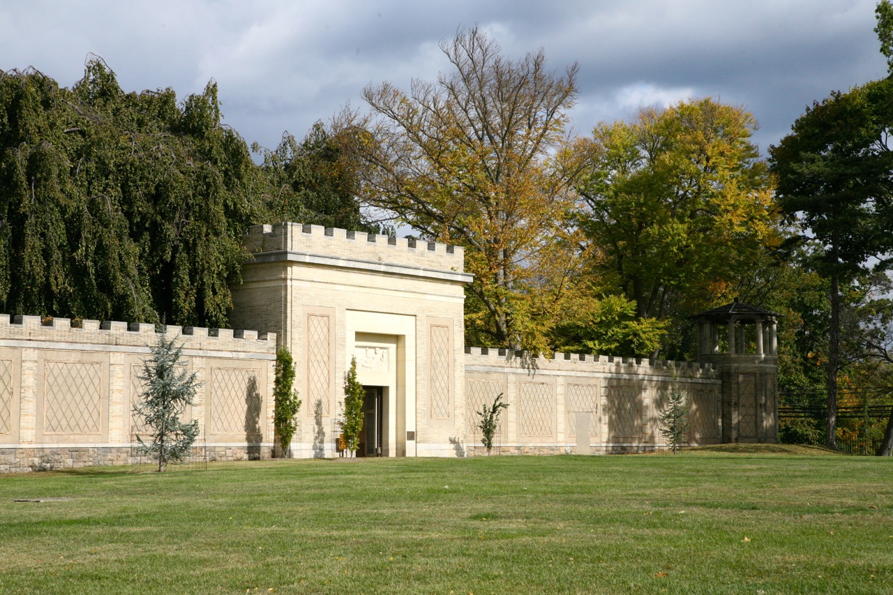 The open lawn area originally faced the main house which no longer exists, and was the site of a series of greenhouses.