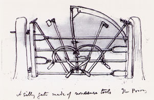 A page from Jekyll's sketchbook 'A silly gate made of nonsense tools' Source: Collection of the Godalming Museum