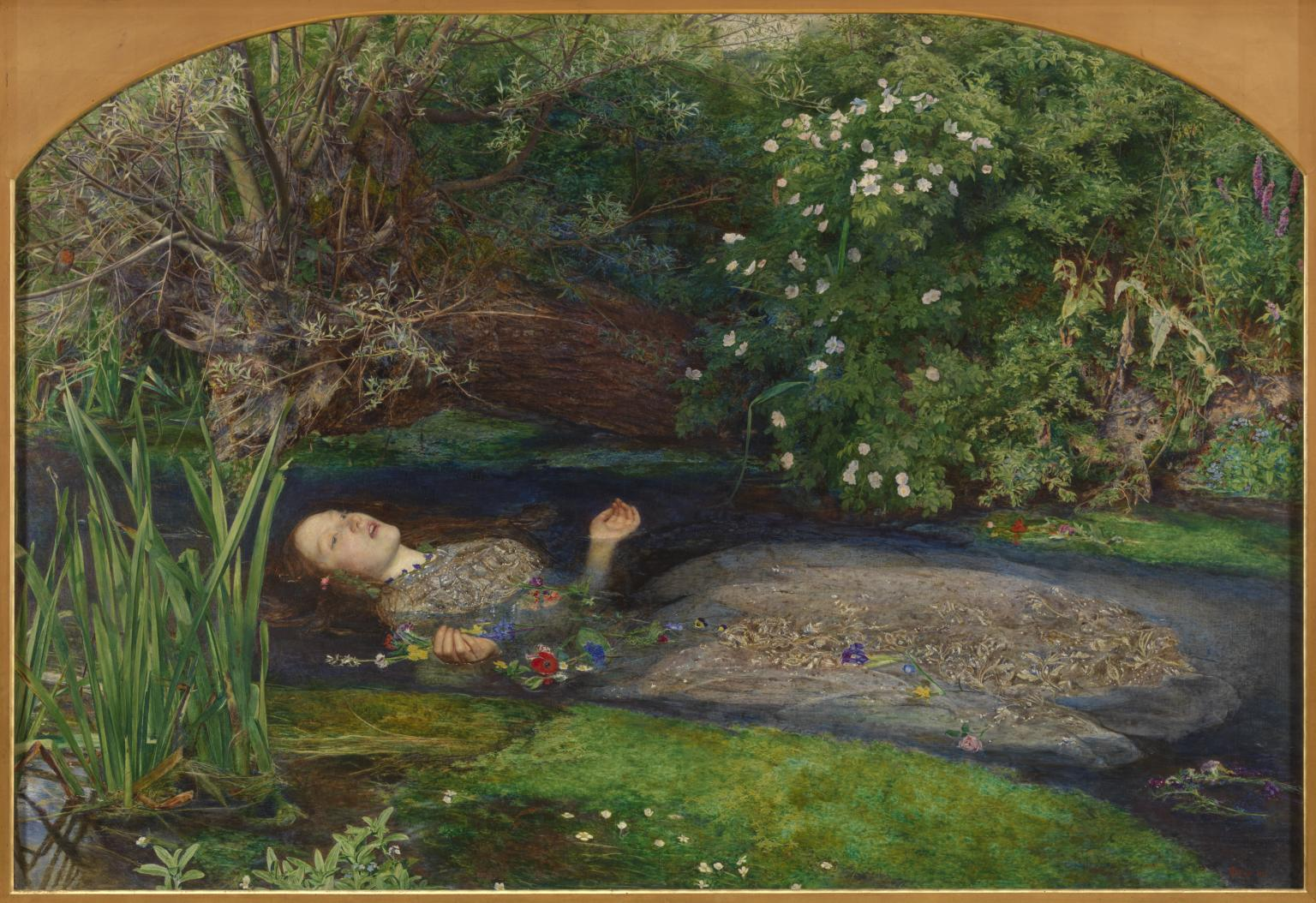 The stream, full of watercress, reminded me of  Ophelia  by John Everett Millais, 1852. Source: Tate Gallery.
