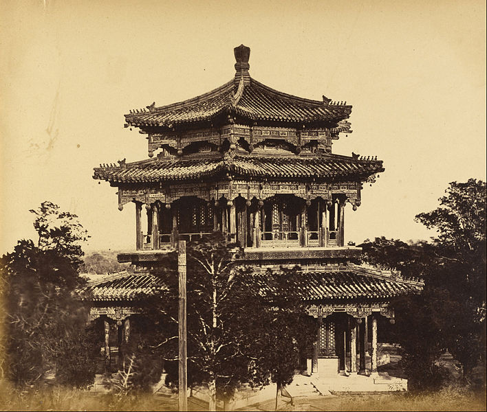Imperial Summer Palace before the of Burning Yuan Ming Yuan , by Felice Beato, 1860. Source: The J. Paul Getty Museum.