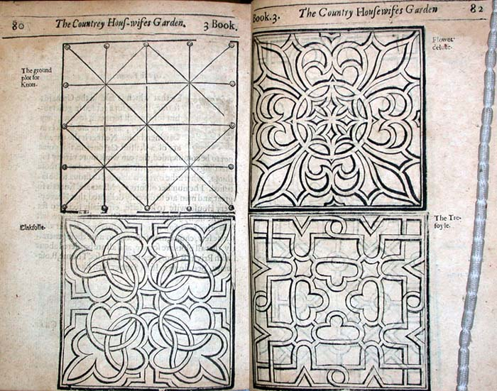 Tudor knot garden designs from  William Lawson's  A New Orchard and Garden .