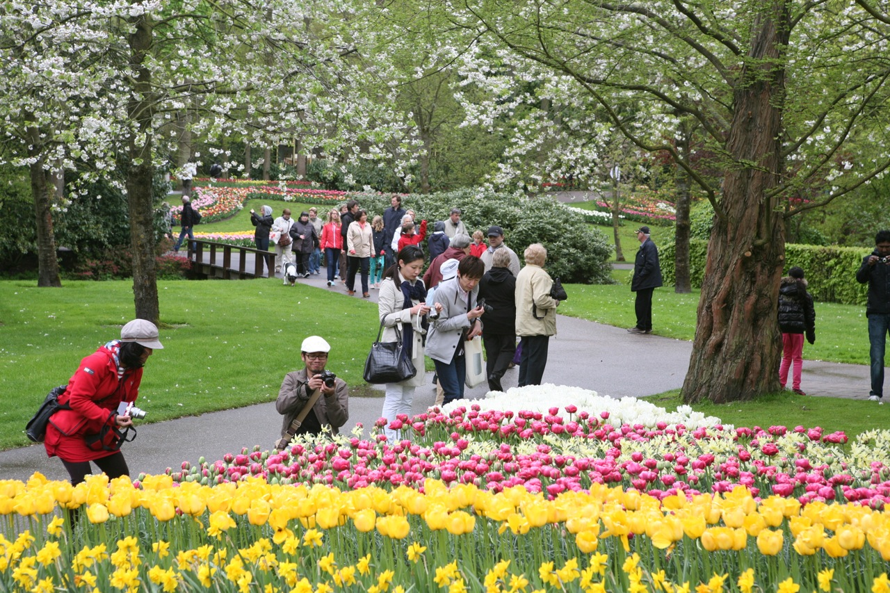 The walled garden's formal style contrasts with the rest of Keukenhof's pictureque paths. Photo taken with a few of the garden's million visitors.