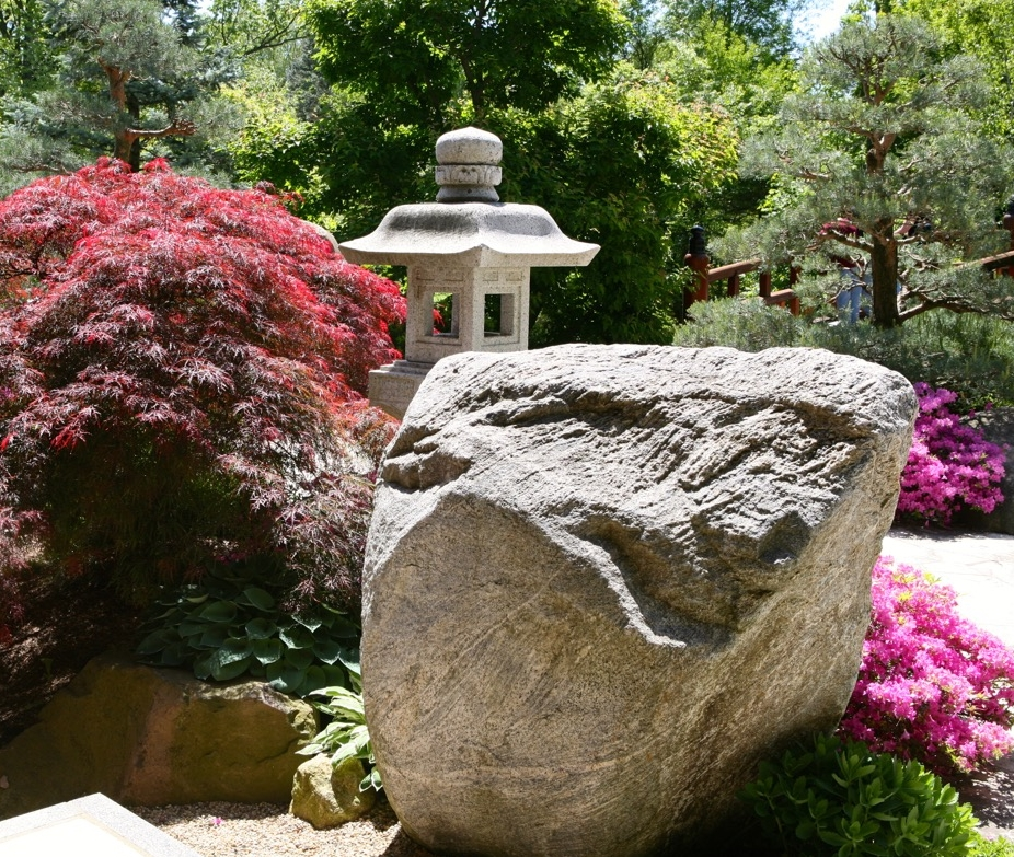 Boulders play an important role in the design of the landscape.  This beautiful one marks the entrance to the Pond Strolling Garden.