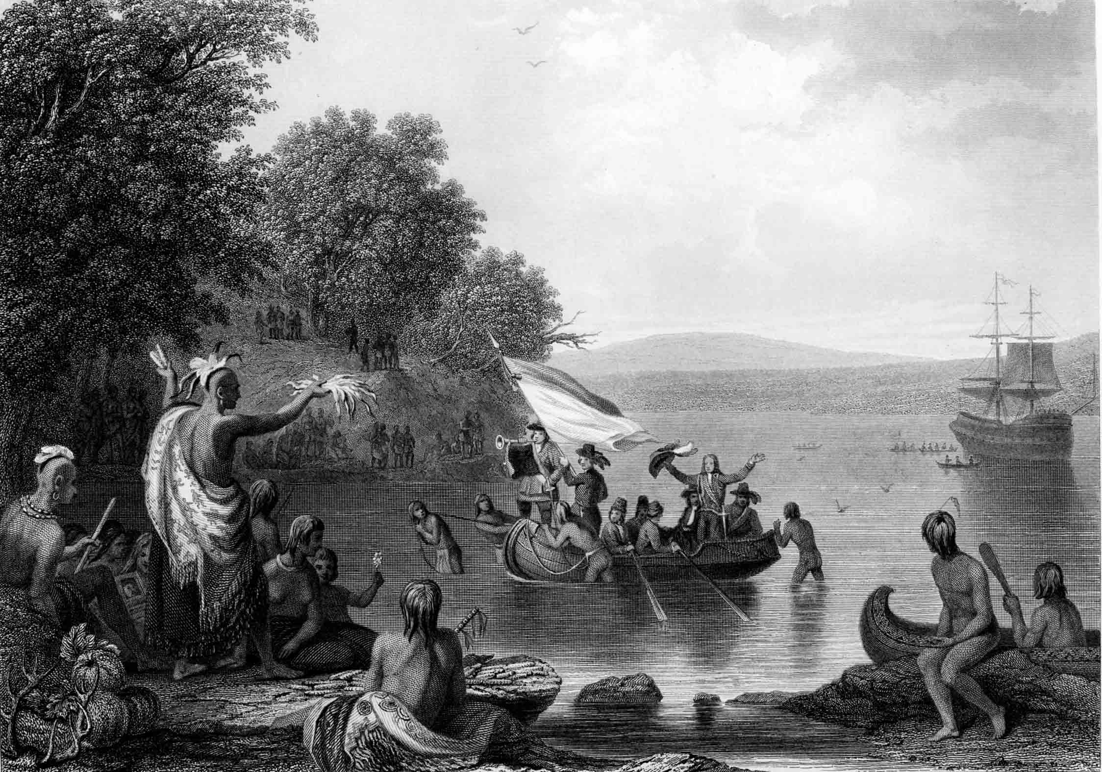 The Landing of Henrick Hudson, based on a painting by Robert Weir, published by Martin, Johnson & Co., New York, 1857. ( Gilder Lehrman Collection )