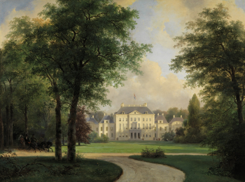 In 1806, the palace brick work was plastered over and a picturesque-style landscape park replaced the formal gardens. Note that this is the same view as the photo above. What a difference! Photo:paleishetloo.nl