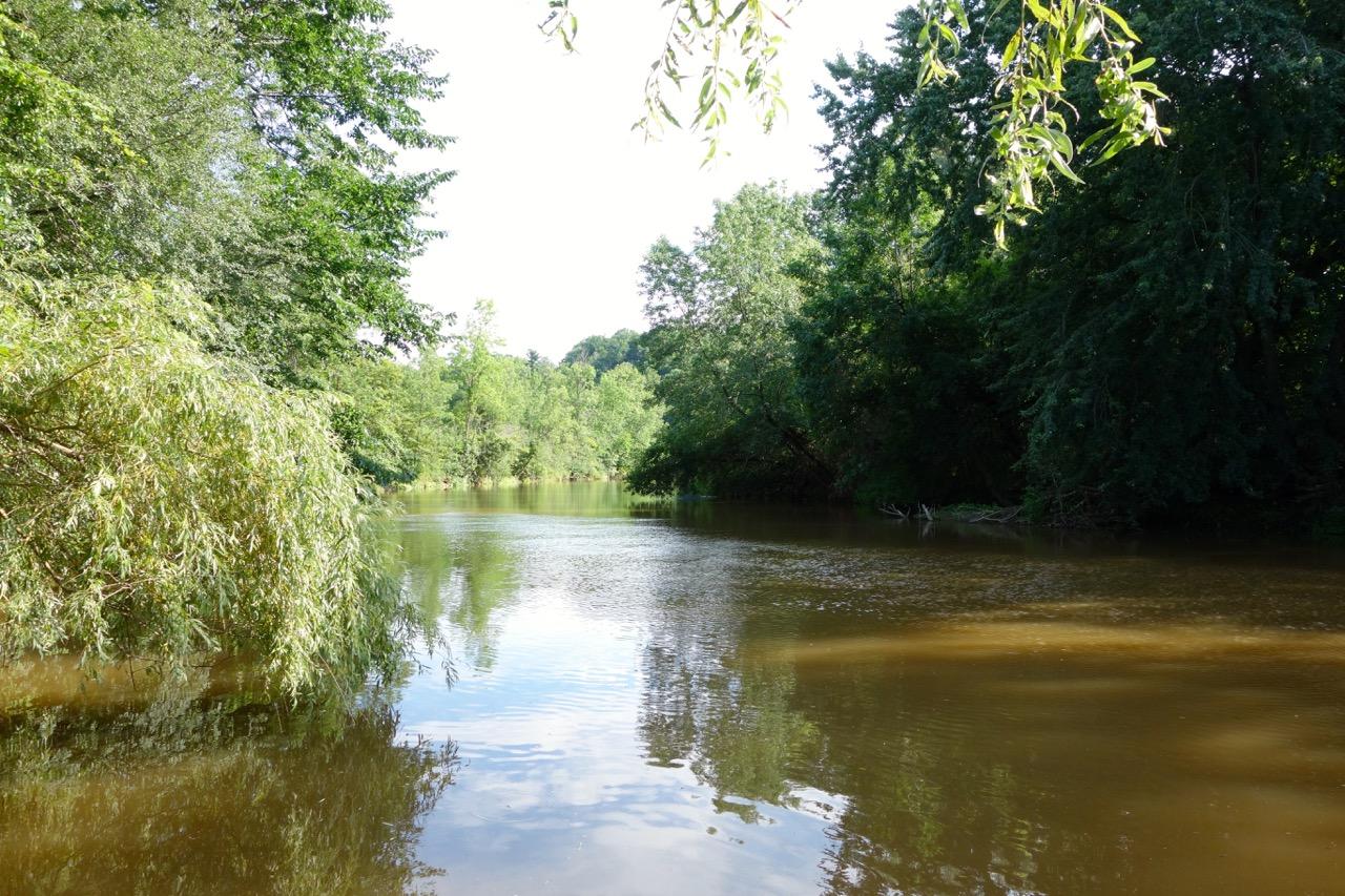 View of the Sheboygan River from behind the Sunken Garden.