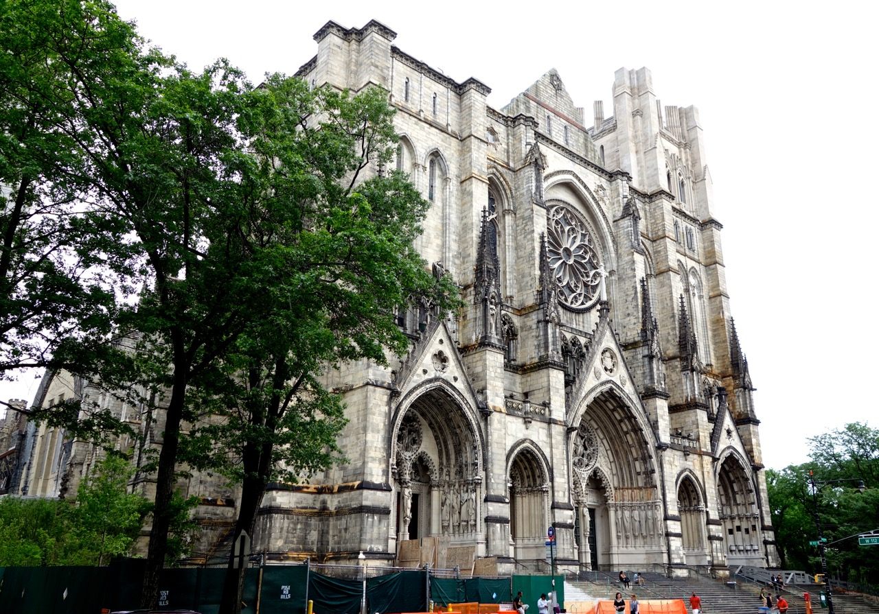 The Cathedral Church of St. John the Divine as seen from Amsterdam Ave. The cathedral remains unfinished, though construction began in 1892. It is the largest cathedral in the world.
