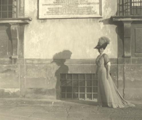 Hortense Mitchell in front of Villa La Pietra. Her wealth funded the restoration. Image source:  NYU Villa La Pietra.