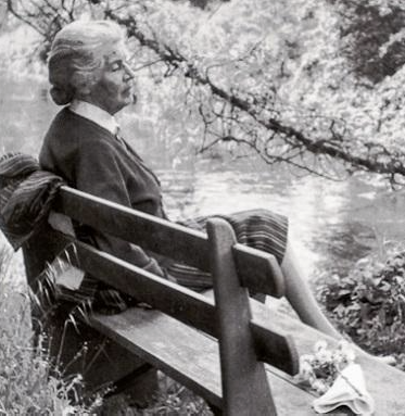 Marguerite Chapin Caetani, a driving force behind the garden we see today. She poured her energy and money into the landscape. She planted many of the roses. Source:  Made in South Italy Today
