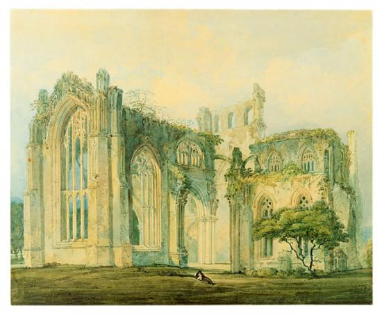"""Thomas Girtin's (1775–1802)  Melrose Abbey . """"Girtin was not so much interested in architectural detail as in the spirit of the place, atmospheric effects, and interpretative touches that might evoke emotion or set a mood."""" Source:  The Morgan Library"""