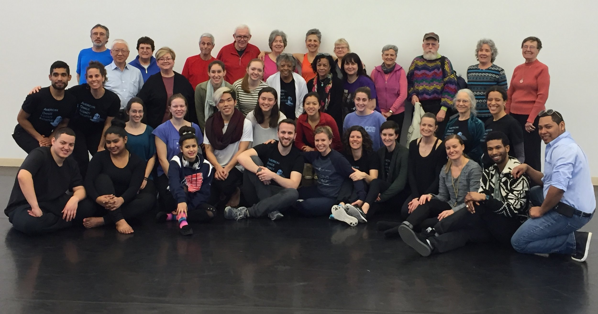 DAPpers, Dancing with PArkinson's, Dancing Legacy and Brown dancers after a full day of dancing at the Paul Taylor Dance Studio.