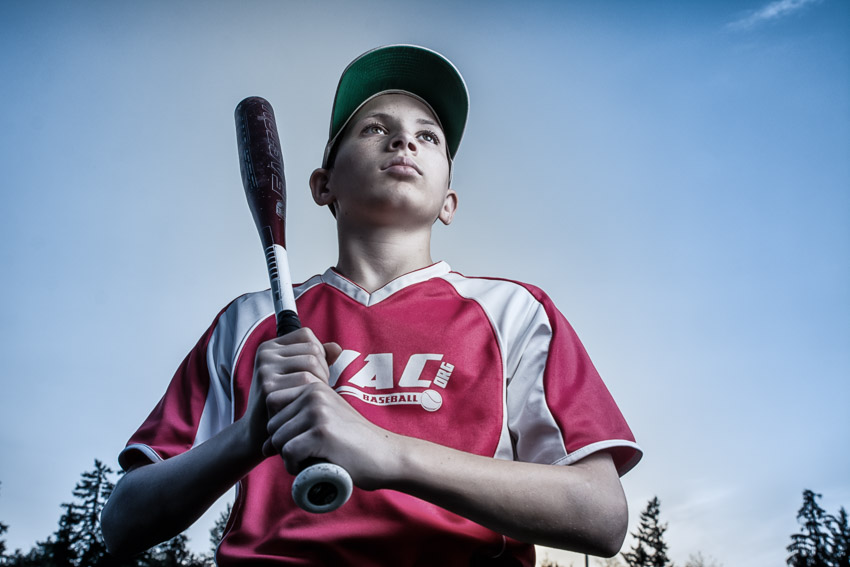 Devin Baseball Portrait Blue Skies