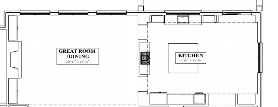 kitchen and great room floorplan