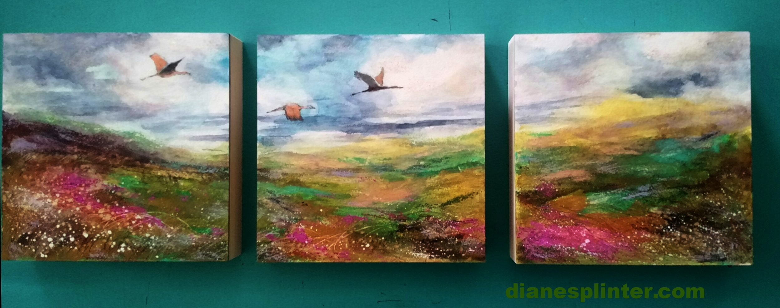 """Heading Home"" - Sandhill Cranes Triptych - Original mixed media, varnished and UV protected.  Sold"