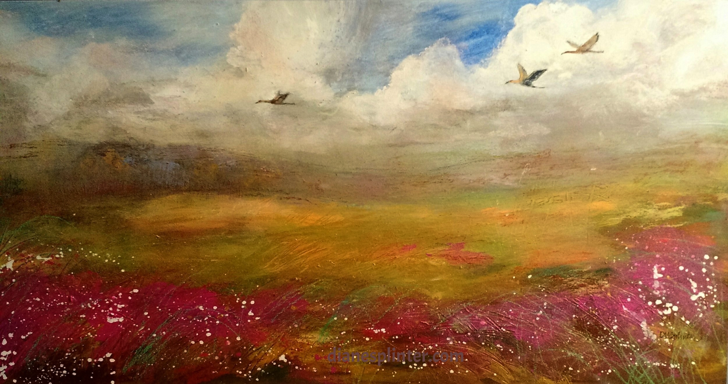Flying High - Sandhill Cranes on birch board,  sold