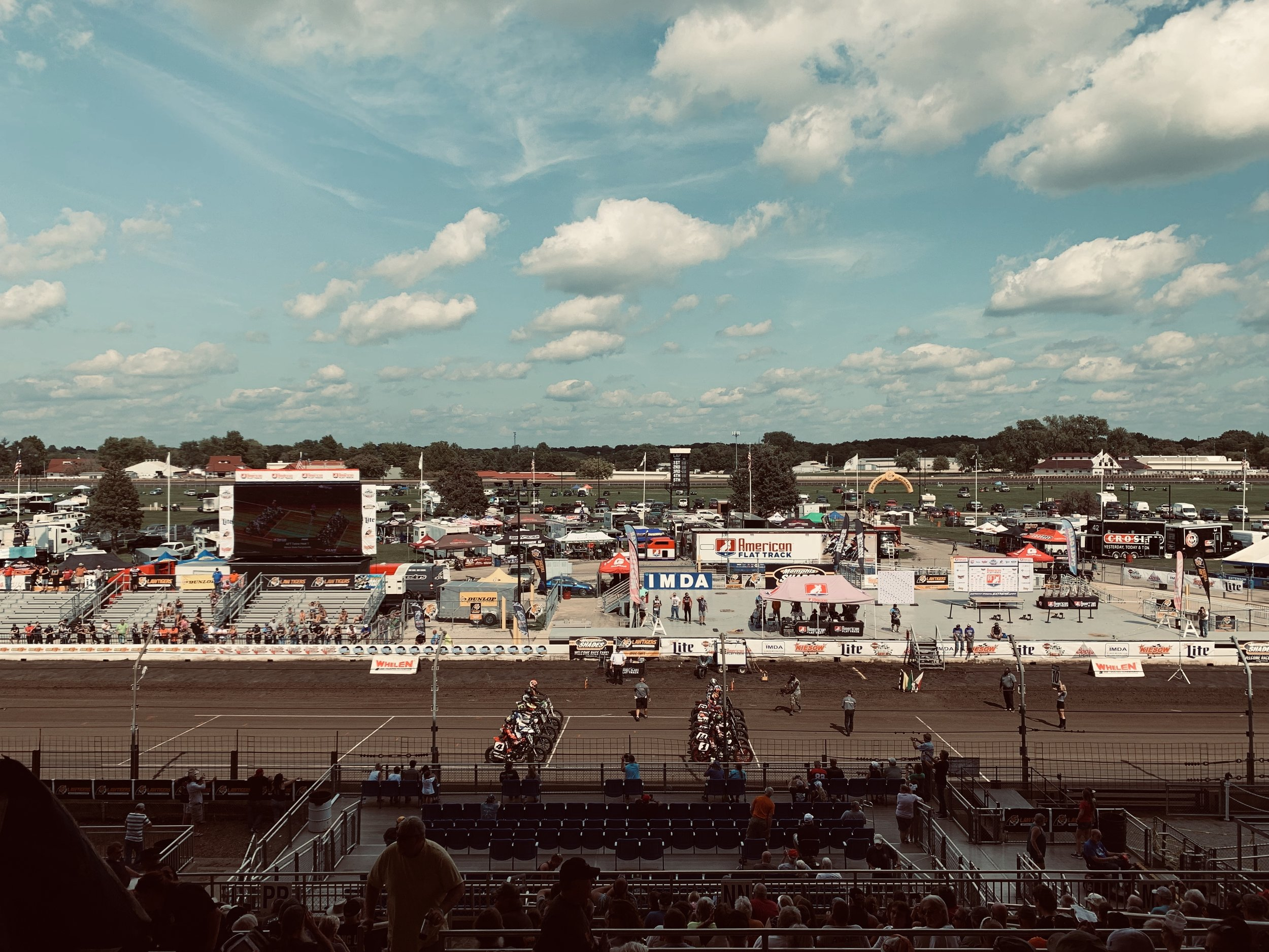 Our view at the Springfield Mile Track.