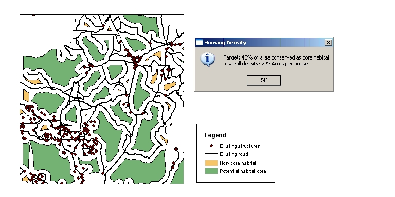 Evaluate habitat cores. Green areas are undisturbed areas sufficiently large enough to serve as a habitat core.