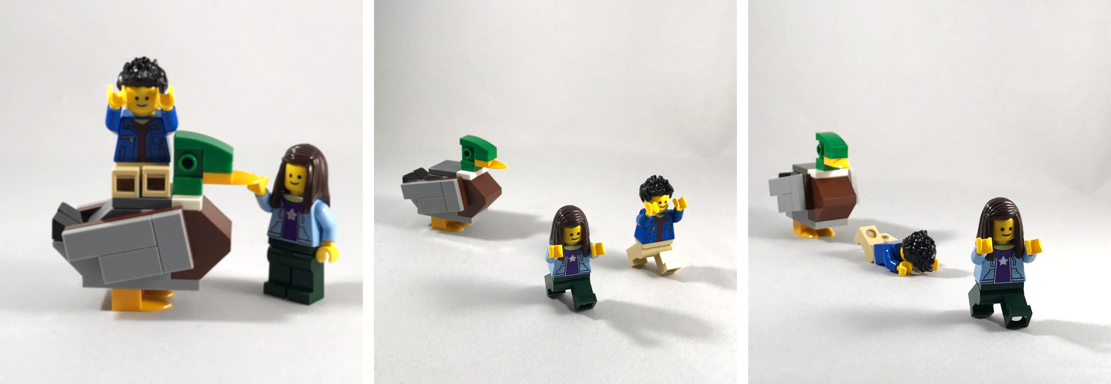 My friend  Lego Grad Student  and I fleeing from a giant duck, created for  Paluck lab .