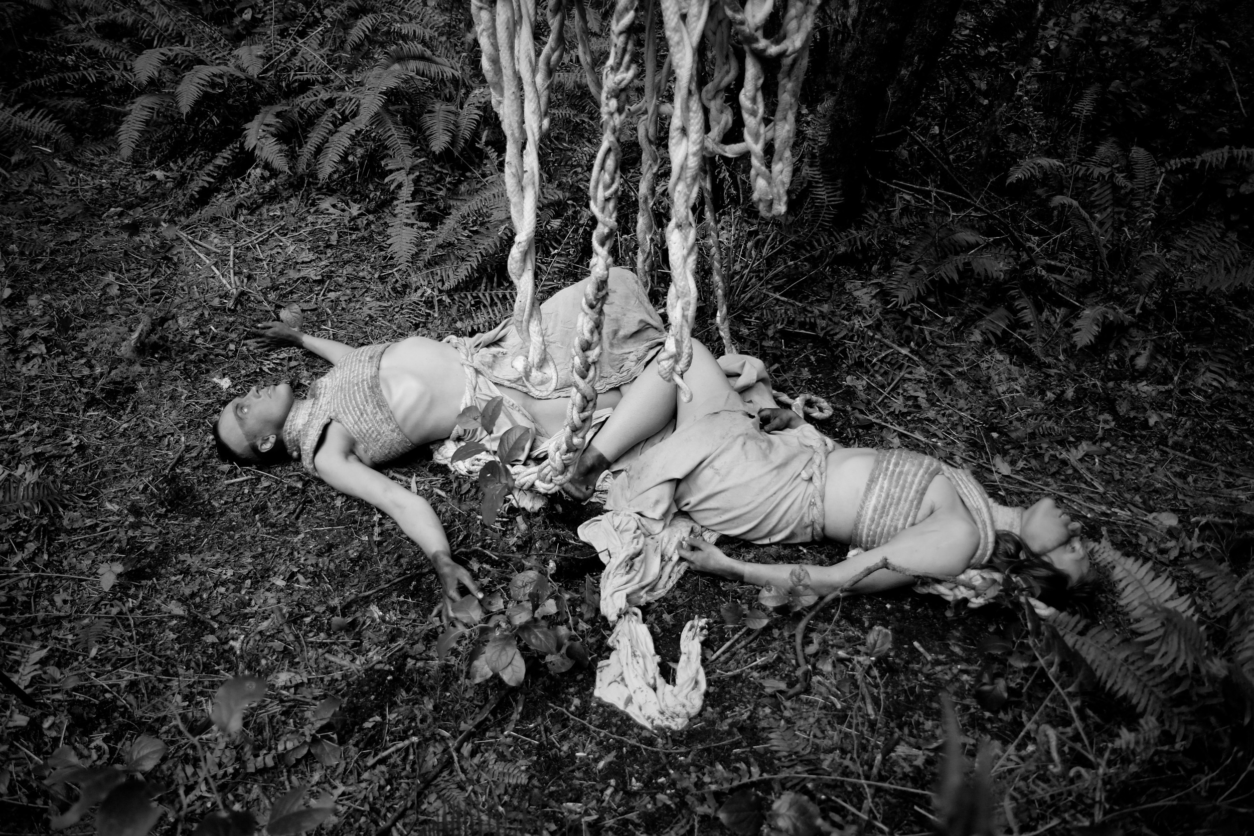 "Cocoon  and  The Sacrifice  (2015)   Sculpture approximately H 120"" x W 54"" x D 54""   Costume approximately H 20"" x W 20"" x D 324""  Cotton Upholstery Piping  Performers: The House of ia  Image Credit: Ethan Folk  Film Still from Ethan Folk's  Vernae"