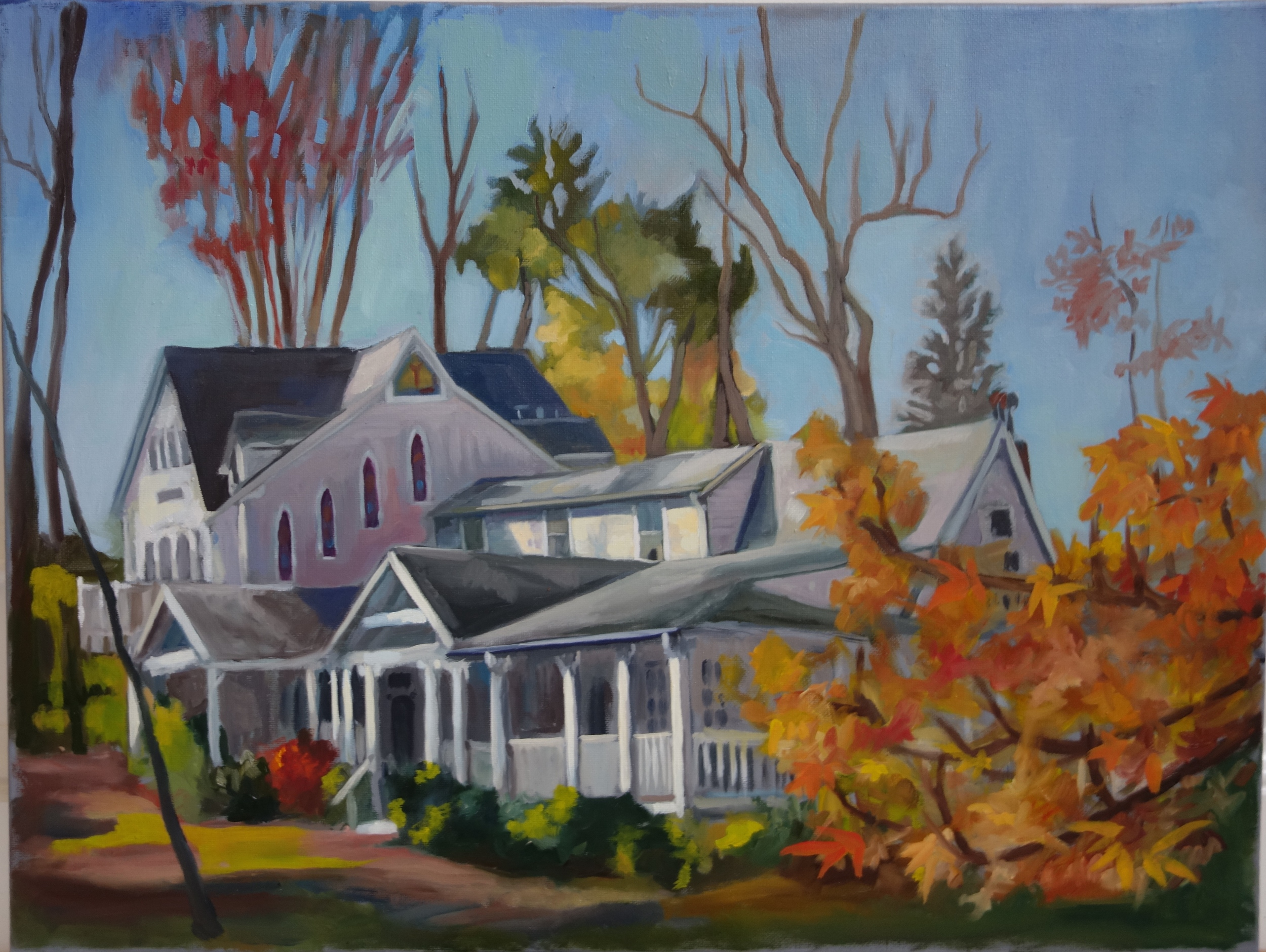 "Fall Morning in Washington Grove   18"" x 24"", oil on canvas  For sale,  contact the artist"