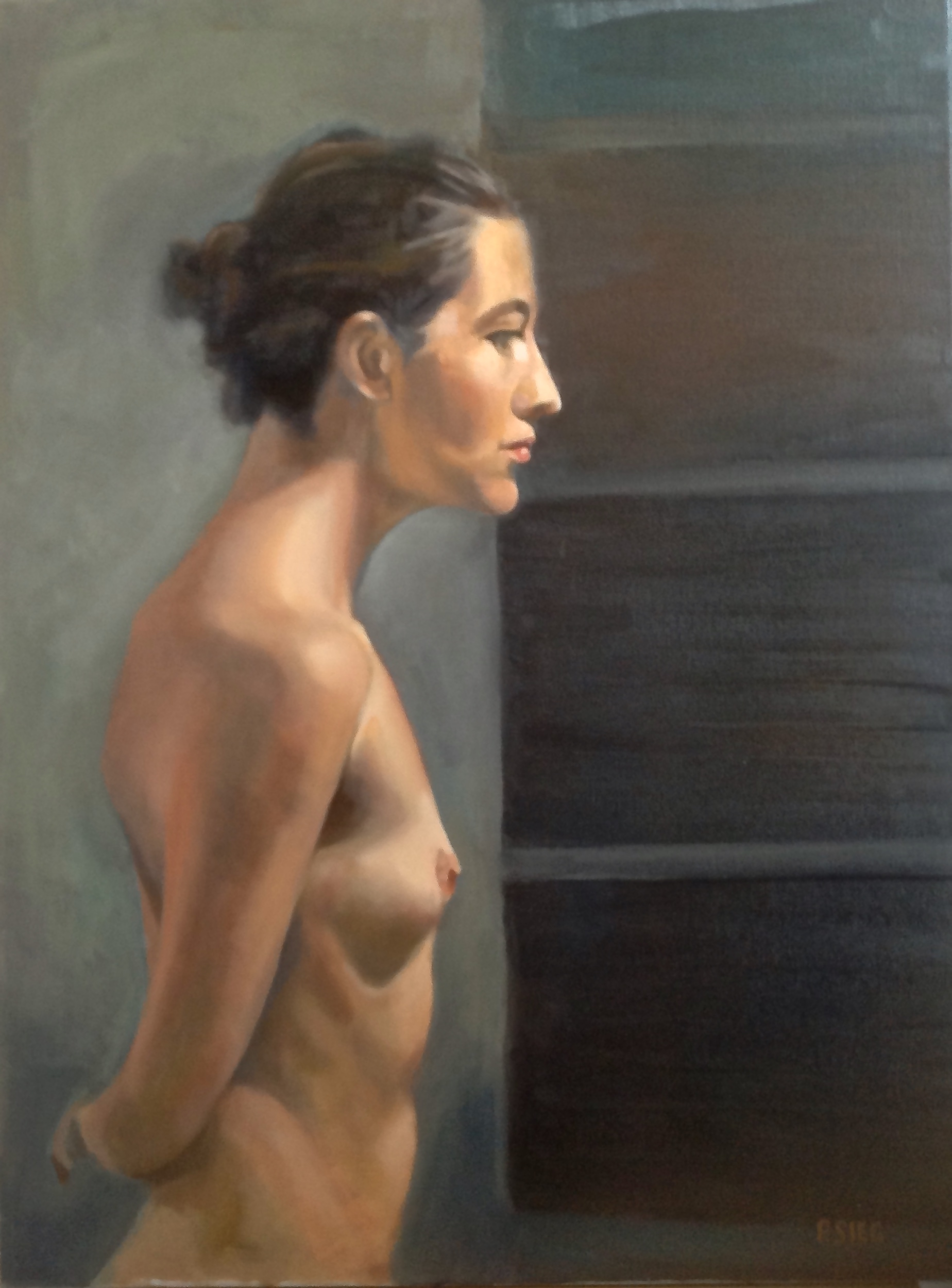 "Leaning In  18"" x 24"", oil on canvas Second prize winner in the Oil and Acrylic category, Rockville Art League, Spring 2015 show. For sale,  contact the artist"