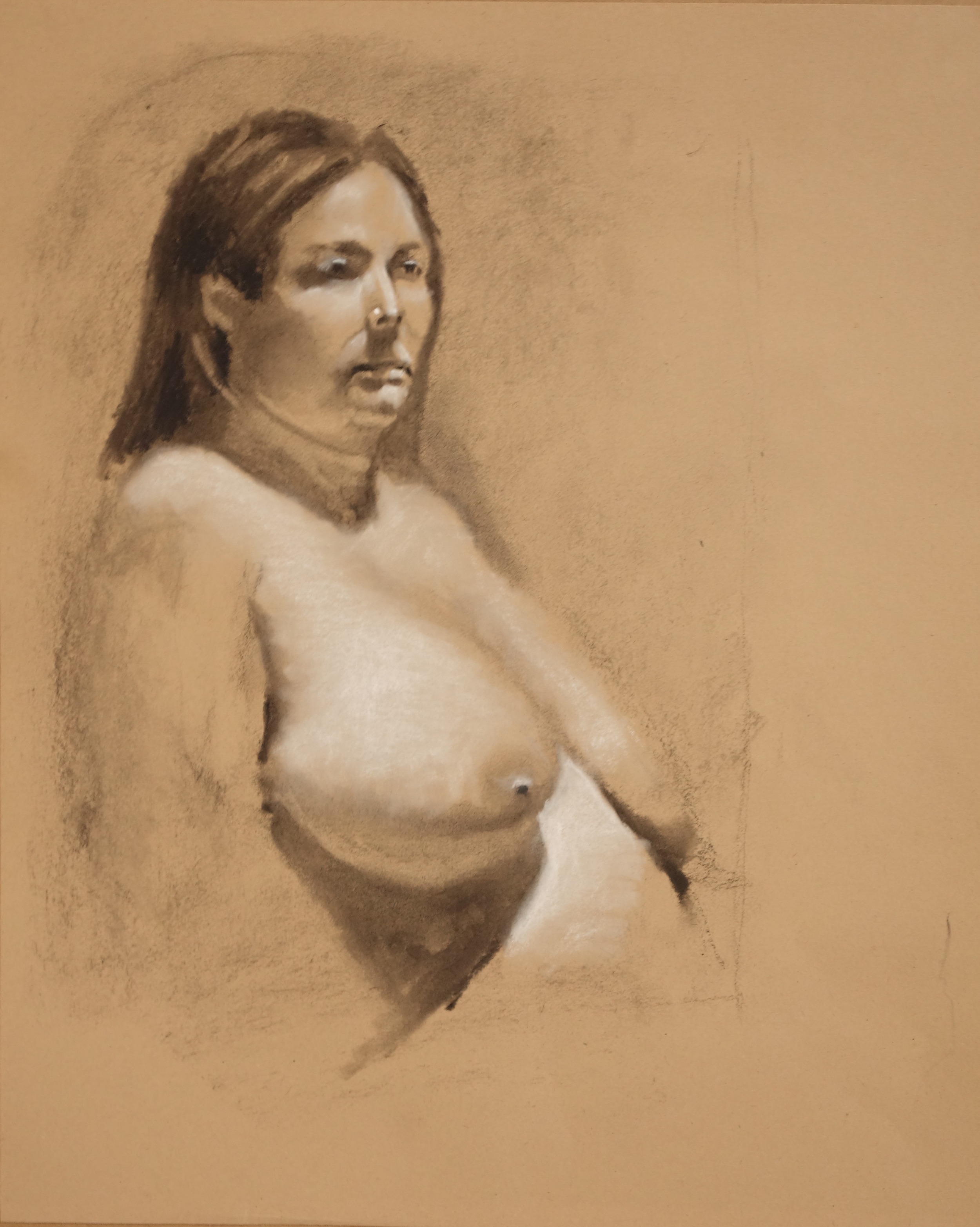 "Jalene    17"" x 14"", charcoal on paper For sale,  contact the artist"