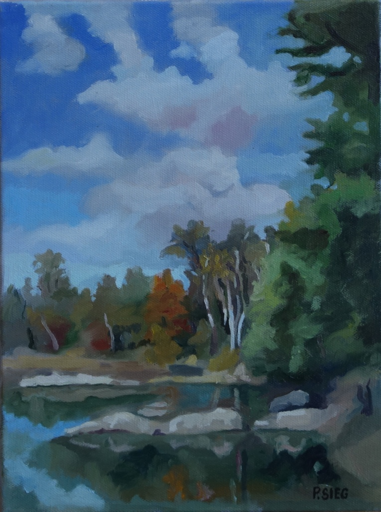 "Fall Clouds  9"" x 12"", oil on canvas Private collection"