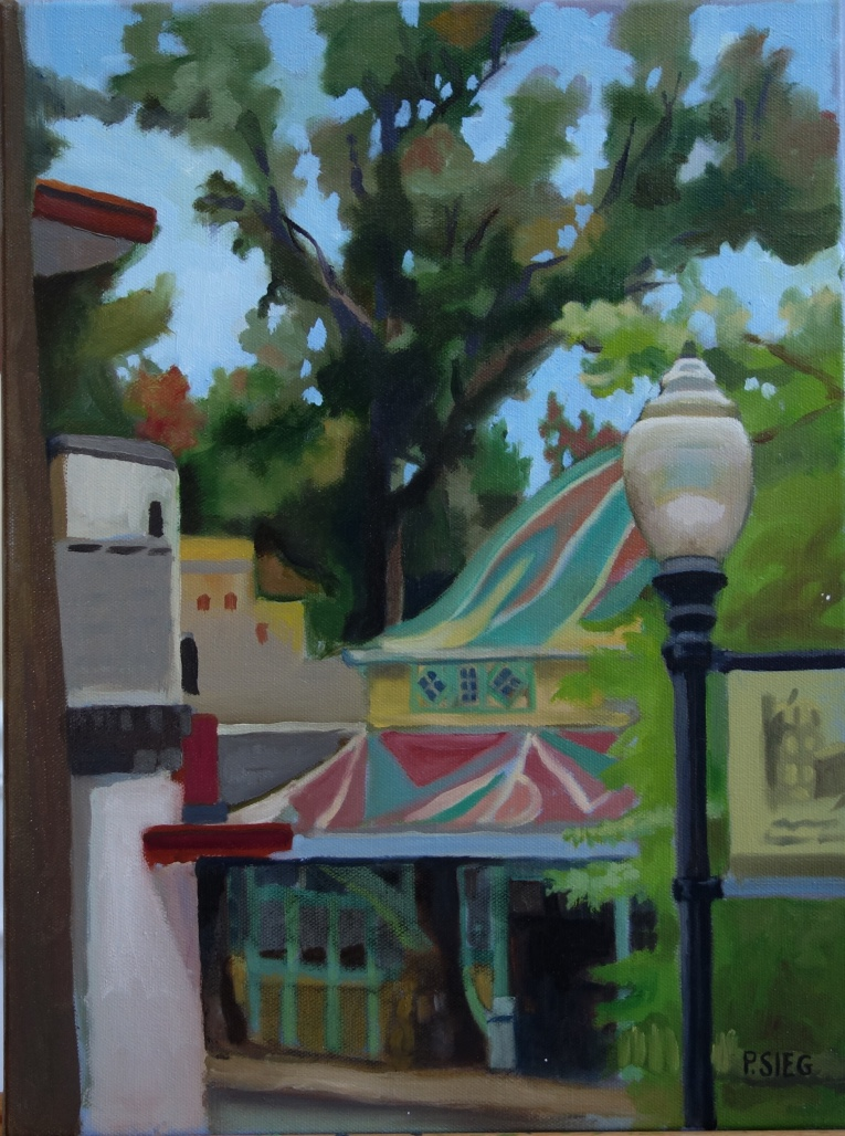 "Streetlamp, Carousel and Trees  12"" x 16"", oil on canvas For sale,  contact the artist"