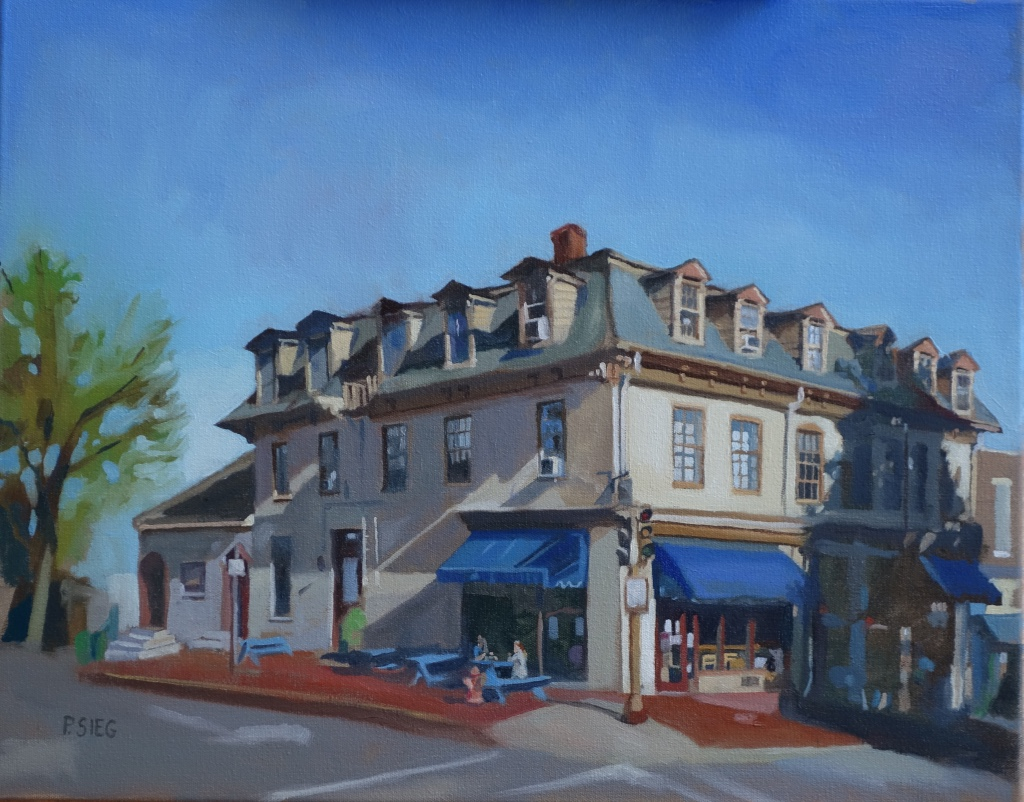 "Blue Sky Restaurant, Lexington, VA  16"" x 20"", oil on canvas Private collection"