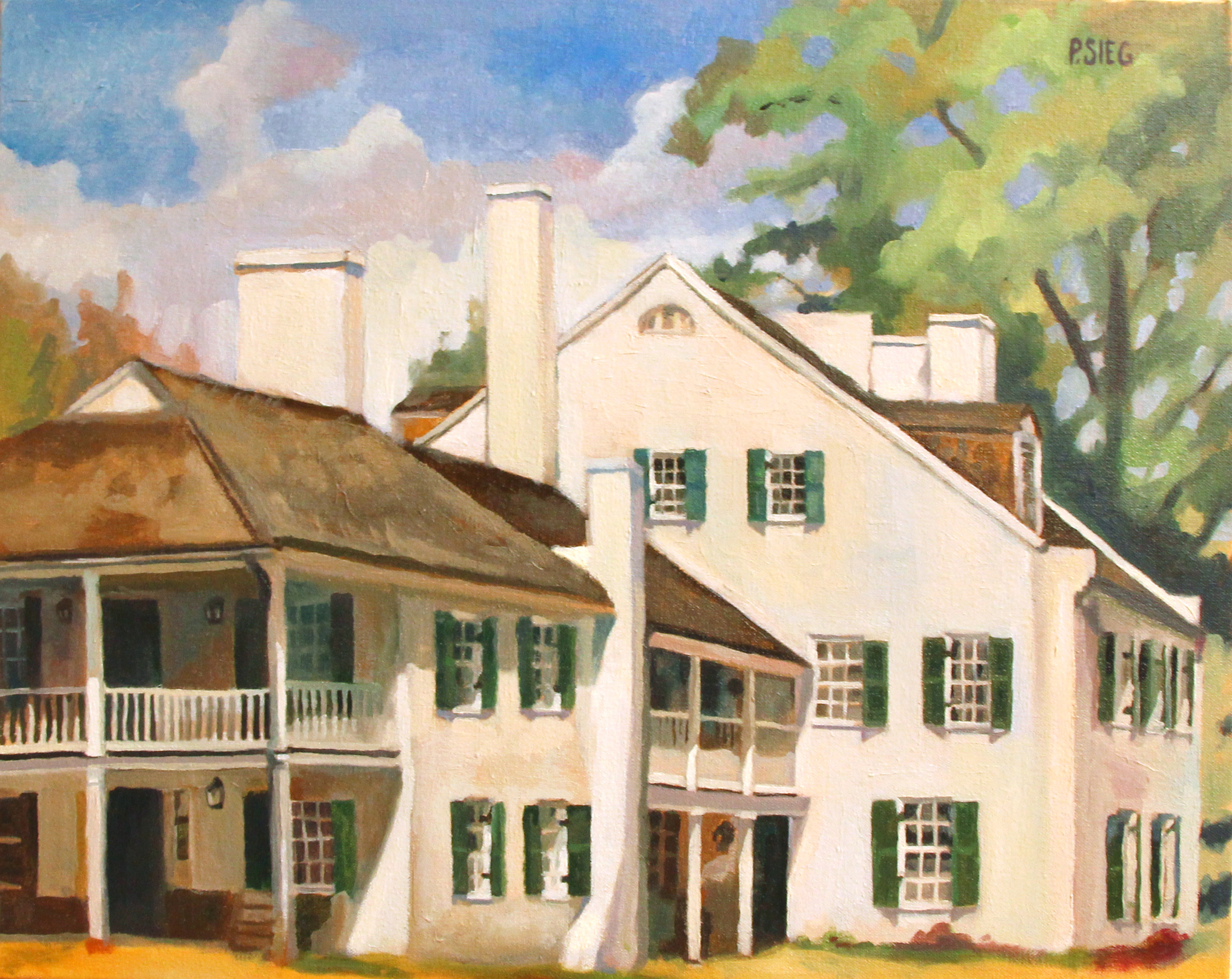 "Back Side, Great Falls Tavern  16"" x 20"", oil on canvas For sales,  contact the artist"