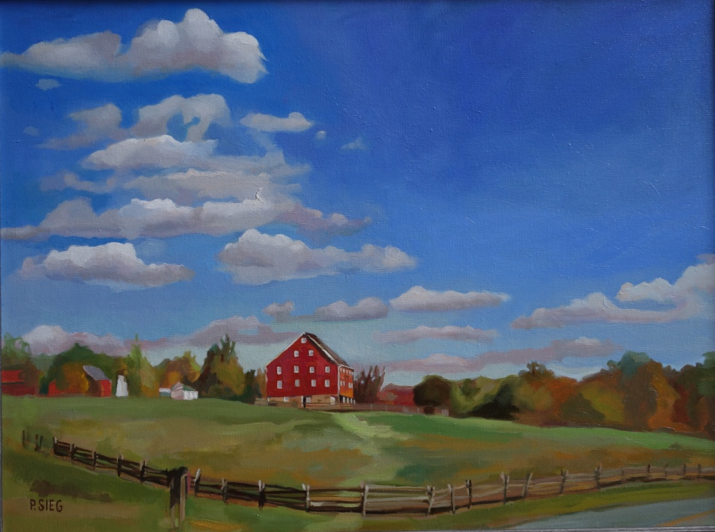 "Barn, Bend and Blue  18"" x 24"", oil on canvas For sale,  contact the artist"