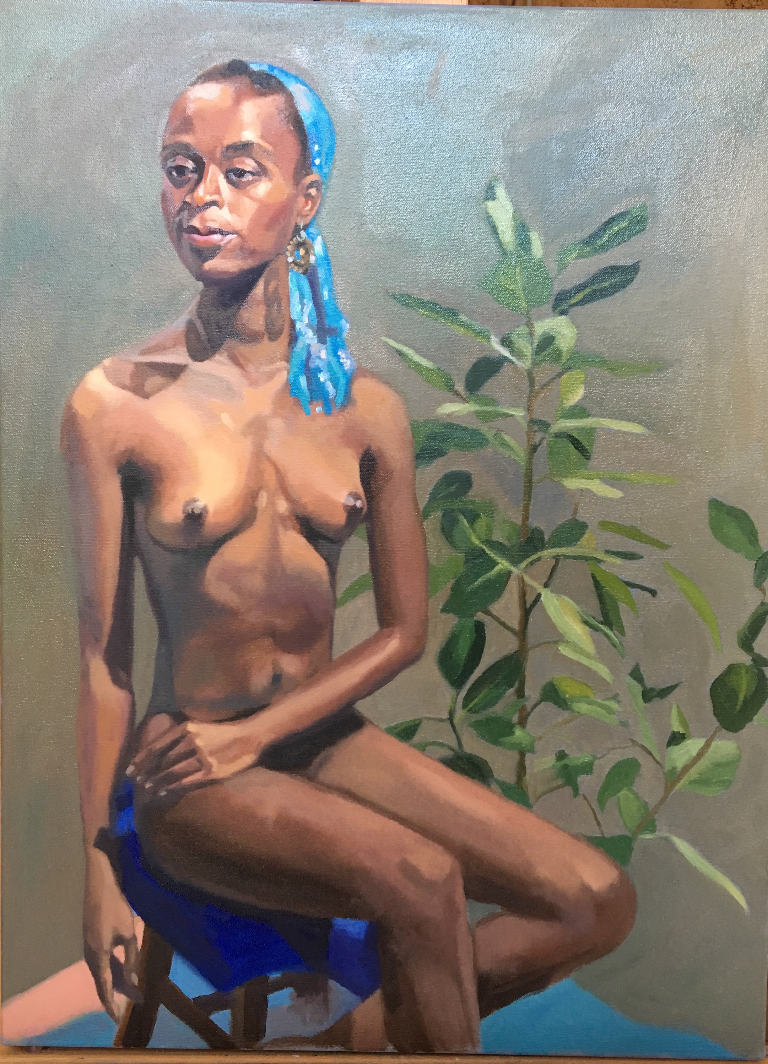 "Gazelle and the Rubber Tree Plant   18"" x 24"", oil on canvas For sale,  contact the artist"